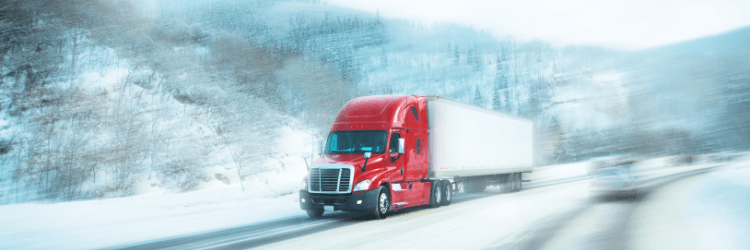 Trucks and trailers on winter roads